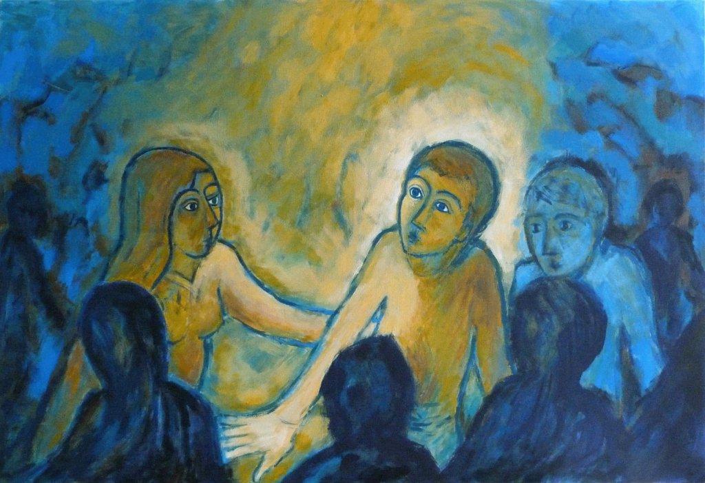 femme touchant Jésus